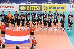 07-06-2014 NED: WLV Nederland - Portugal, Almere<br /> Een moeizame overwinning op Portugal levert Nederland twee punten op / Line up Nederland