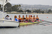 San Diego, California. USA,   2013 San Diego Crew Classic, Mission Bay.  Women's Collegiate 2V, Jackie Ann Stitt Hungness Trophy, USC, University of Southern California, Trojans, wait for the Start, attached to Sailing Boat, used as Stake Boat. 09:57:53   Sunday  07/04/2013  [Mandatory Credit. Karon Phillips/Intersport Images]..