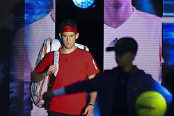 November 15, 2017 - London, England, United Kingdom - Austria's Dominic Thiem arrives on court to play against Spain's Pablo Carreno Busta during their men's singles round-robin match on day four of the ATP World Tour Finals tennis tournament at the O2 Arena in London on November 15 2017. (Credit Image: © Alberto Pezzali/NurPhoto via ZUMA Press)