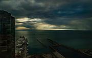 Rays of light at Sunrise over Navy Pier.