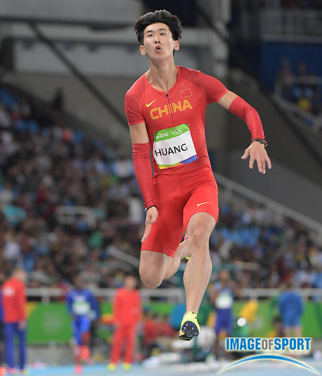 Aug 12, 2016; Rio de Janeiro, Brazil; Changzhou Huang (CHN) competes in the men's long jump at Estadio Olimpico Joao Havelange in the Rio 2016 Summer Olympic Games.