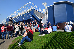 West Bromwich Albion fans enjoy the warm weather before the match