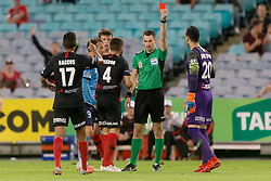 December 15, 2018 - Sydney, NSW, U.S. - SYDNEY, NSW - DECEMBER 15: Western Sydney Wanderers goalkeeper Vedran Janjetovic (20) is sent from the field by match referee Jarred Gillet for handing the ball outside the 18yrd box at the Hyundai A-League Round 8 soccer match between Western Sydney Wanderers FC and Sydney FC at ANZ Stadium in NSW, Australia on December 15, 2018. (Photo by Speed Media/Icon Sportswire) (Credit Image: © Speed Media/Icon SMI via ZUMA Press)