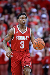 11 February 2017:  Antoine Pittman during a College MVC (Missouri Valley conference) mens basketball game between the Bradley Braves and Illinois State Redbirds in  Redbird Arena, Normal IL
