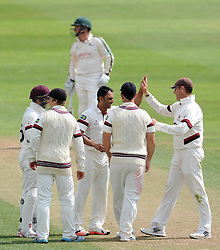 Nottinghamshire's Michael Lumb is caught by Somerset's Jim Allenby off the bowling of Somerset's Abdur Rehman - Photo mandatory by-line: Harry Trump/JMP - Mobile: 07966 386802 - 14/06/15 - SPORT - CRICKET - LVCC County Championship - Division One - Day One - Somerset v Nottinghamshire - The County Ground, Taunton, England.