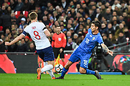 Italy Midfielder Lorenzo Pellegrini (16) and England Midfielder Eric Dier (8) battle for the ball during the Friendly match between England and Italy at Wembley Stadium, London, England on 27 March 2018. Picture by Stephen Wright.