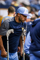 June 10, 2017 - St. Petersburg, Florida, U.S. - WILL VRAGOVIC   |   Times.Tampa Bay Rays center fielder Kevin Kiermaier (39) on crutches in the dugout during the first game of the double header between the Tampa Bay Rays and the Oakland Athletics at Tropicana Field in St. Petersburg, Fla. on Saturday, June 10, 2017. (Credit Image: © Will Vragovic/Tampa Bay Times via ZUMA Wire)