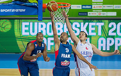 Tony Parker #9 of France vs Nemanja Bjelica #8 of Serbia during basketball match between National teams of Serbia and France in Round 2 at Day 12 of Eurobasket 2013 on September 15, 2013 in Arena Stozice, Ljubljana, Slovenia. (Photo by Vid Ponikvar / Sportida.com)