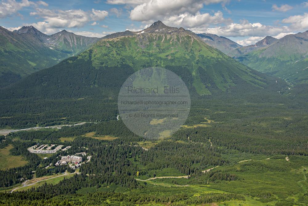 View of the Chugach Mountains and the Mt. Alyeska Resort in Girdwood, Alaska.