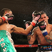 """Orlando """"El Fenomeno""""  Cruz (R)  takes a left uppercut from Gabino """"Flash"""" Cota during their Boxeo Telemundo WBO/NABO Super Featherweight bout on Friday, October 9, 2015 at the Kissimmee Civic Center in Kissimmee, Florida. Cruz, who is from Puerto Rico, is the first ever openly gay boxer  in the history of the sport and won the bout by unanimous decision.  (Alex Menendez via AP)"""