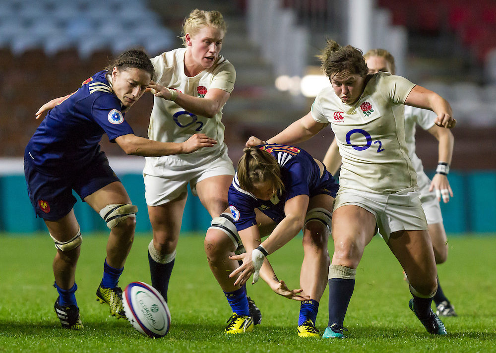 Marlie Packer kicks the ball on, England Women v France Women in an Old Mutual Wealth Series, Autumn International match at Twickenham Stoop, Twickenham, England, on 9th November 2016. Full Time score 10-5