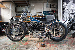 Hide Motorcycles' Hideya Togashi's latest custom, a 1966 Harley-Davidson XLCH Sportster at his Kawasaki, Japan shop during my Japan tour after Mooneyes. Monday, December 3, 2018. Photography ©2018 Michael Lichter.