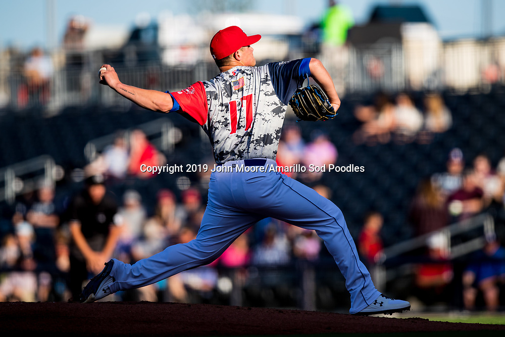 Amarillo Sod Poodles pitcher Adrian Morejon (17) pitches against the Midland RockHounds on Monday, May 13, 2019, at HODGETOWN in Amarillo, Texas. [Photo by John Moore/Amarillo Sod Poodles]
