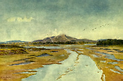Tigerberg and Diep River, Cape South Africa From the book ' The Cape peninsula: pen and colour sketches ' described by Réné Juta and painted by William Westhofen. Published by A. & C. Black, London  J.C. Juta, Cape Town in 1910