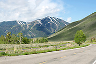Looking toward the Sun Valley ski slopes on a sunny summer morning