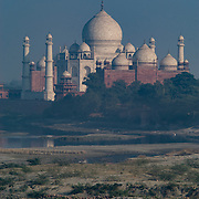 The Taj Mahal and a donkey cart as seen from near Agra Fort, Agre, India.