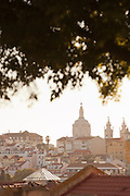 The dome of Jeronimos Monastery seen from Praca do Principe Real in Lisbon, Portugal