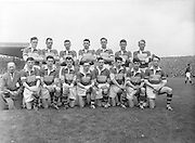 The Kerry team before the Kerry goalie J Cullotty kicks the ball clear during the All Ireland Senior Gaelic Football Final Kerry v Down in Croke Park on the 22nd September 1960. Down 2-10 Kerry 0-8.