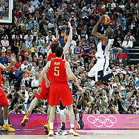 12 August 2012: USA Kobe Bryant takes a jumpshot during 107-100 Team USA victory over Team Spain, during the men's Gold Medal Game, at the North Greenwich Arena, in London, Great Britain.