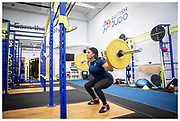 20 weeks pregnant - Nekoda Smythe Davis focuses on maintaining strength at the Judo Centre of Excellence gym in Walsall.