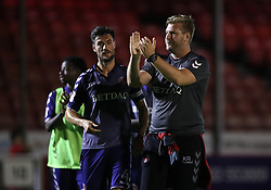 Charlton Athletic's Johnnie Jackson and manager Karl Robinson react after the final whistle