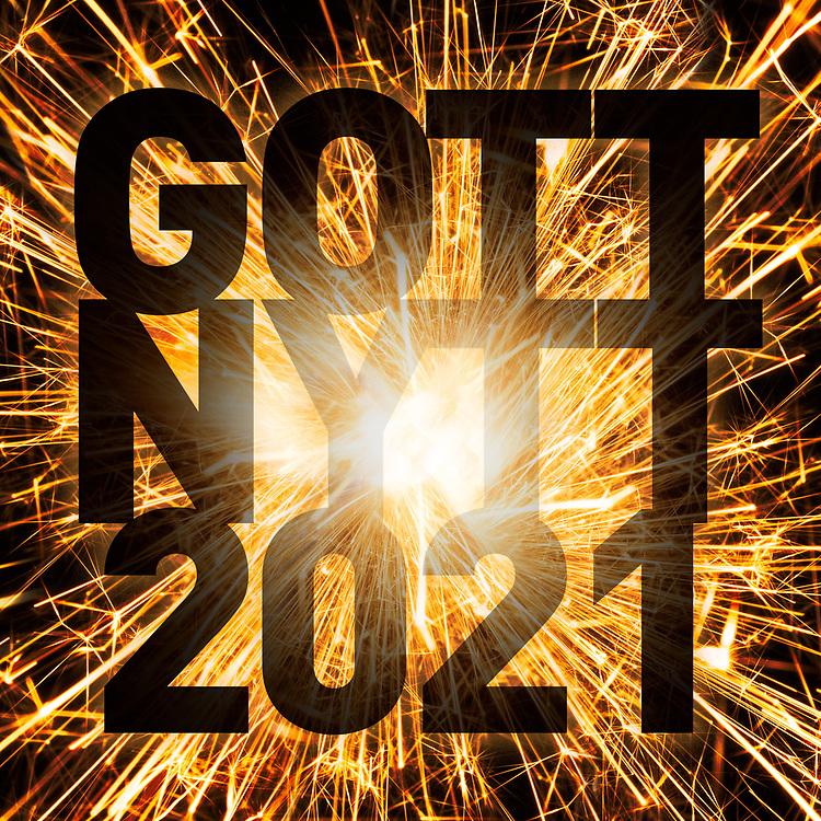 """Nyårs hälsningar i form av ett fyrverkeri och texten """"Gott nytt 2021""""."""