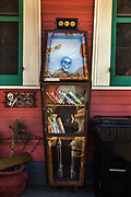 "Free library in gothic bookcase on 11th March 2020 in New Orleans, Louisianna, United States. ""To promote literacy and the love of reading by building free book exchanges worldwide and to build a sense of community as we share skills, creativity and wisdom across generations."" -LittleFreeLibrary.org"