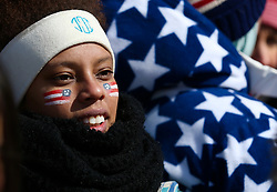 February 12, 2018 - PyeongChang, South Korea - USA fans during the venue podium ceremony after Snowboard Ladies' Halfpipe Final at Phoenix Snow Park during the 2018 Pyeongchang Winter Olympic Games. (Credit Image: © Jon Gaede via ZUMA Wire)