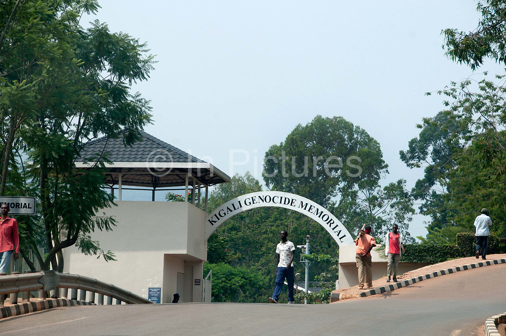 Rwanda February 2014.  Entrance arch to Kigali Genocide Memorial. 250,000 people are buried here, victims of 1994 genocide when an estimated 800,000 to one million people were savagely killed in 100 days ,starting on April 7th when the President's plane was shot down.