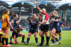 Laura Keates of Worcester Warriors Women and her team mates celebrate the home side's try - Mandatory by-line: Nick Browning/JMP - 24/10/2020 - RUGBY - Sixways Stadium - Worcester, England - Worcester Warriors Women v Wasps FC Ladies - Allianz Premier 15s