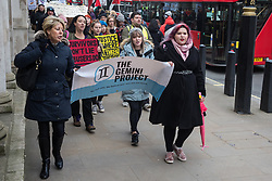 London, UK. 6 January, 2020. Supporters of the British teenager allegedly gang-raped by a group of male Israeli tourists in Cyprus attend a March for Justice organised by The Gemini Project, a non-profit organisation aiming to end sexual violence through advocacy and campaigns. Campaigners have been calling on the Foreign Office to seek the expedition by Cyprus of the appeal process following her conviction for lying. The teenager's treatment by the authorities in Cyprus following her traumatic experience has been widely criticised.