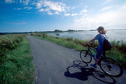 Kathleen Kirkwood of Oakland, Calif. rides her bike along the trail near Gordon's Pond in the Cape Henlopen State Park, Tuesday, Aug. 20, 2019 in Rehoboth Beach, Del. (Photo by D. Ross Cameron)