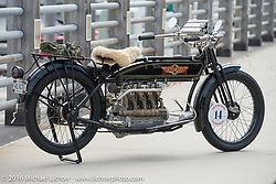 Vern Acres's 4-cylinder 1914 Henderson class-2 motorcycle before the start of the Motorcycle Cannonball Race of the Century Run. Atlantic City, NJ, USA. September 9, 2016. Photography ©2016 Michael Lichter.
