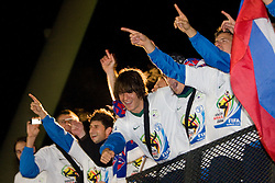 Bojan Jokic, Rene Krhin of Slovenia  celebrate after  FIFA World Cup South Africa 2010 Qualifying Second Play off match between Slovenia and Russia, on November 18, 2009, in Stadium Ljudski vrt, Maribor, Slovenia. Slovenia won 1:0 and qualified for the FIFA World Championships 2010. (Photo by Vid Ponikvar / Sportida)