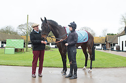 Trainer Nicky Henderson with Might Bite ahead of the Cheltenham Festival in March, during a stable visit to Nicky Henderson's Seven Barrows Stables in Lambourn.
