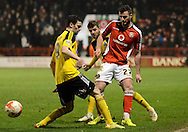 Anthony Forde plays the ball forward during the Sky Bet League 1 match between Walsall and Sheffield Utd at the Banks's Stadium, Walsall, England on 17 March 2015. Photo by Alan Franklin.