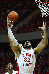 04 February 2012:  Jackie Carmichael and Jordan Prosser work to grab the same rebound during an NCAA Missouri Valley Conference mens basketball game where the Bradley Braves lost to the Illinois State Redbirds 78 - 48 in Redbird Arena, Normal IL