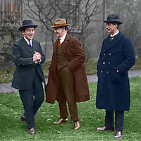 L-R: Harry Boland, Michael Collins and Eamon de Valera, possibly during 1921 Truce. This image has been digitally edited to add colour to its original black and white format.  (Part of the Independent Newspapers Ireland/NLI Collection)