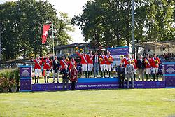 RIESENBECK - FEI Jumping European Championship Riesenbeck 2021<br /> <br /> Team Germany, Team Switzerland, Team Belgium<br /> Siegerehrung / Prize giving ceremony<br /> Second Qualifying Competition - Round 2 <br /> Team Final<br /> <br /> Hörstel-Riesenbeck, Reitanlage Riesenbeck International<br /> 03. September 2021<br /> © www.sportfotos-lafrentz.de/Stefan Lafrentz