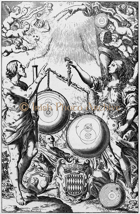 Urania, the Muse of Astronomy, weighing and comparing systems of the universe and giving greater weight to Tycho's system, right, than to that of Copernicus. Ptolemy's system is discarded at her feet. From Riccioli 'Almagestum Novum', Bologna, 1651.