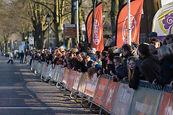 Fans line the streets eager to see the finish - Drentse 8, a 140km road race starting and finishing in Dwingeloo, on March 13, 2016 in Drenthe, Netherlands.
