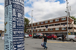 A block of flats adjacent to Spurs' Tottenham Hotspur Stadium shows its residents' support for the team ahead of Tottenham's Champions League final with Liverpool to be played at Atletico Madrid's Wanda Metropolitano Stadium in Madrid. Tottenham, London, May 31 2019.