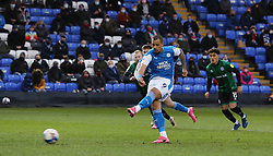 Jonson Clarke-Harris of Peterborough United scores the opening goal from the penalty spot - Mandatory by-line: Joe Dent/JMP - 12/12/2020 - FOOTBALL - Weston Homes Stadium - Peterborough, England - Peterborough United v Rochdale - Sky Bet League One