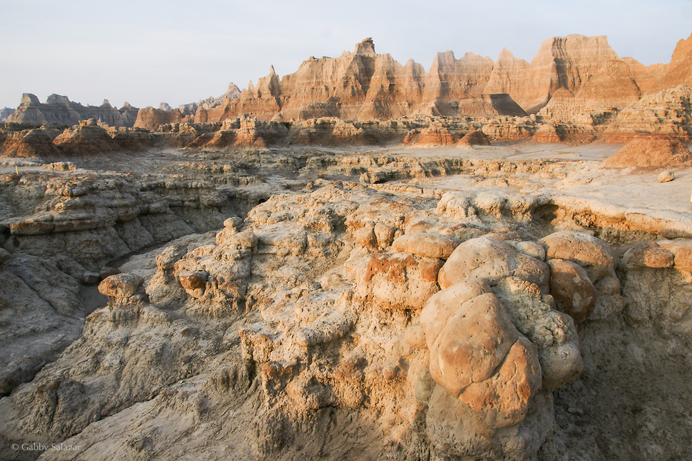 Cracked mud, Badlands National Park, South Dakota, USA.