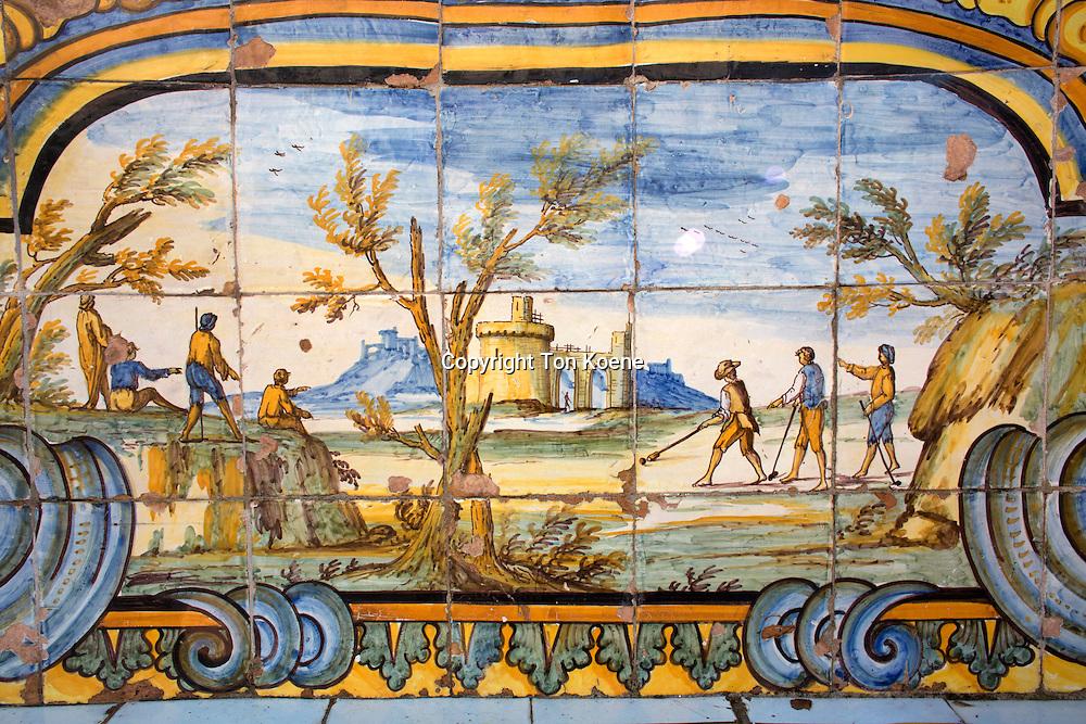 tile decoration in the garden within santa Chiara at via santa chiara.