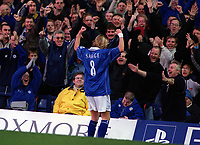 Robbie Savage celebrates scoring a goal for Leicester with the delighted Leicester fans. Leicester City v Leeds United. FA Premiership, 2/12/00. Credit: Colorsport / Nick Kidd.
