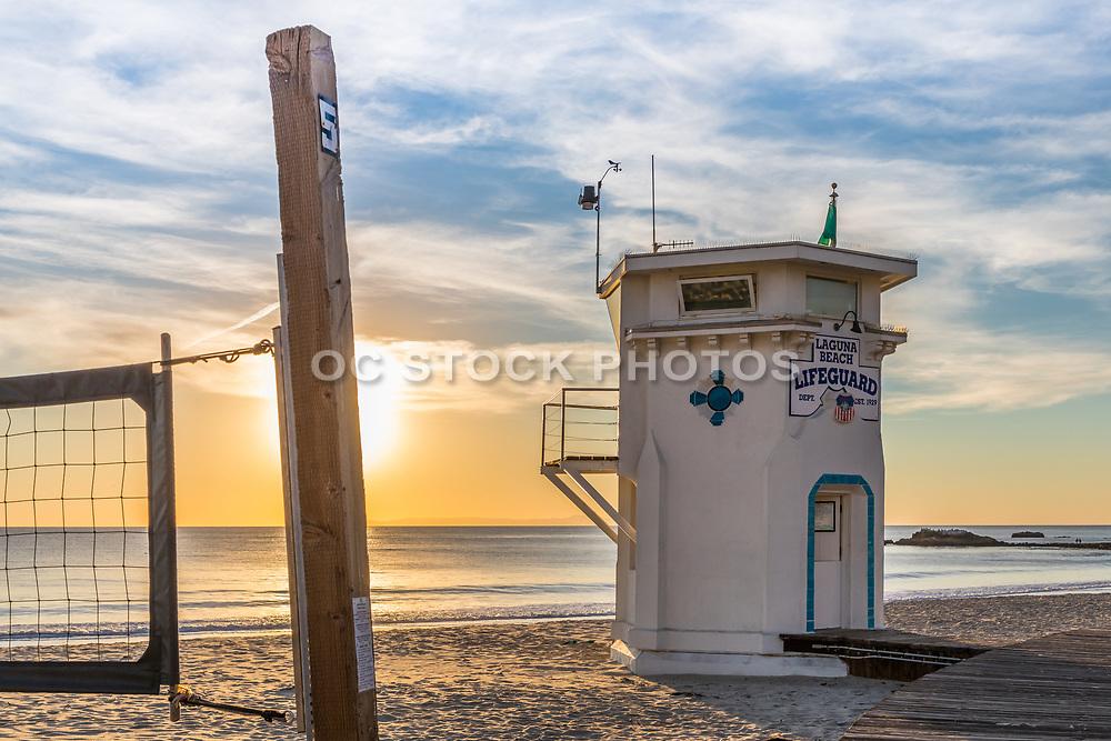 Sunset at Main Beach and Lifeguard Tower in Laguna Beach
