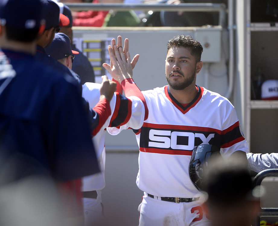 CHICAGO - APRIL 23:  Omar Narvaez #38 of the Chicago White Sox celebrates with teammates against the Cleveland Indians on April 23, 2017 at Guaranteed Rate Field in Chicago, Illinois.  The White Sox defeated the Indians 6-2.  (Photo by Ron Vesely)   Subject:  Omar Narvaez