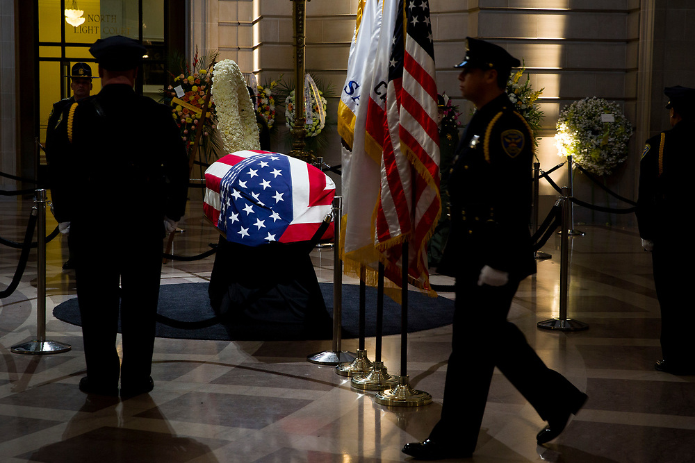 San Francisco Mayor Ed Lee lies in state at City Hall on Friday, Dec. 15, 2017, in San Francisco, Calif. Lee died on Tuesday from a heart attack. He was 65 years old.