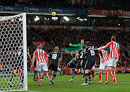 Stoke goalkeeper Asmir Begovic goes close with a header in the closing stages - Football - Barclays Premier League - Stoke City vs Burnley - Britannia Stadium Stoke - Season 2014/2015 - 22nd November 2015 - Photo Malcolm Couzens /Sportimage
